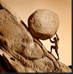 Sisyphus punishment representing absurdity